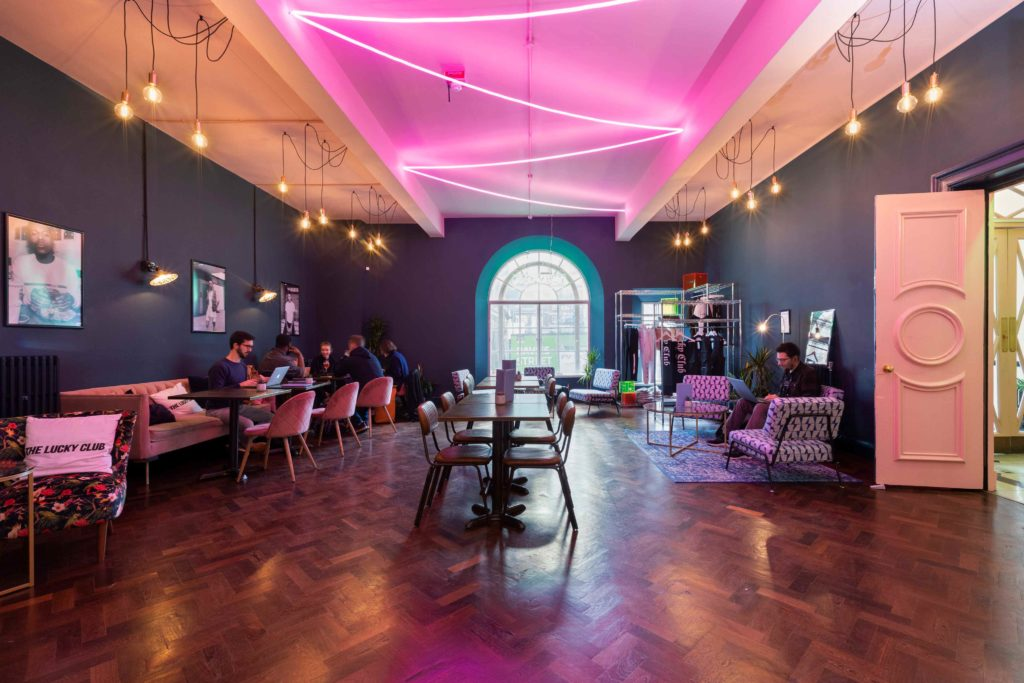 The Lucky Club Mayfair free coworking area in Mayfair